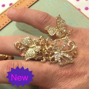 Jewelry - Austrian Crystal Gold Double Finger Butterfly Ring
